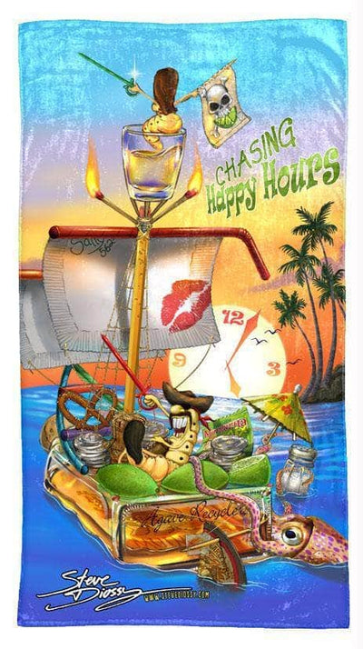 chasing happy hours beach towel vertical