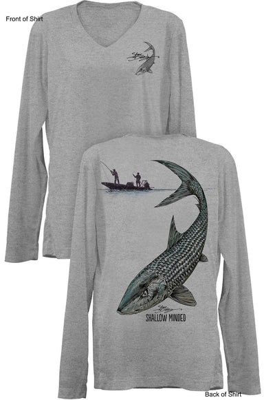 Shallow Minded Bonefish- Ladies Long Sleeve V-Neck-100% Polyester