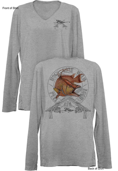 Hogs Gone Wild- Ladies Long Sleeve V-Neck-100% Polyester