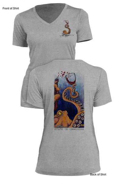 Octopus the Connoisseur- Ladies Short Sleeve V-Neck-100% Polyester