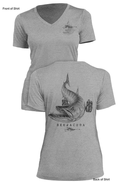 Beeracuda - Ladies Short Sleeve V-Neck-100% Polyester