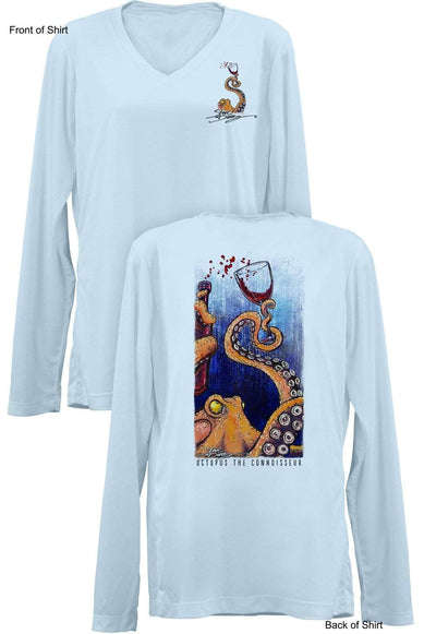 Octopus the Connoisseur- Ladies Long Sleeve V-Neck-100% Polyester