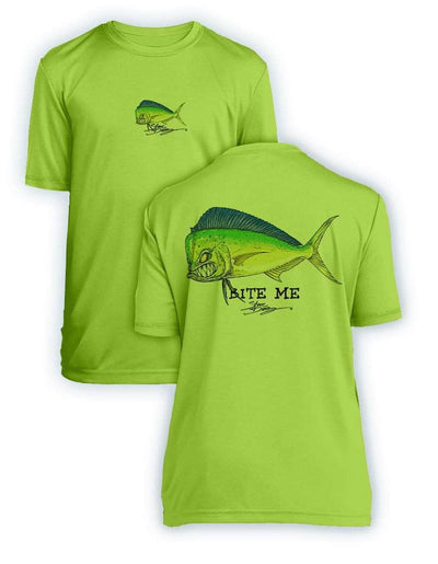 Bite Me Mahi- KIDS Short Sleeve Performance - 100% Polyester