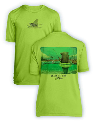 Shark Fishing- KIDS Short Sleeve Performance - 100% Polyester