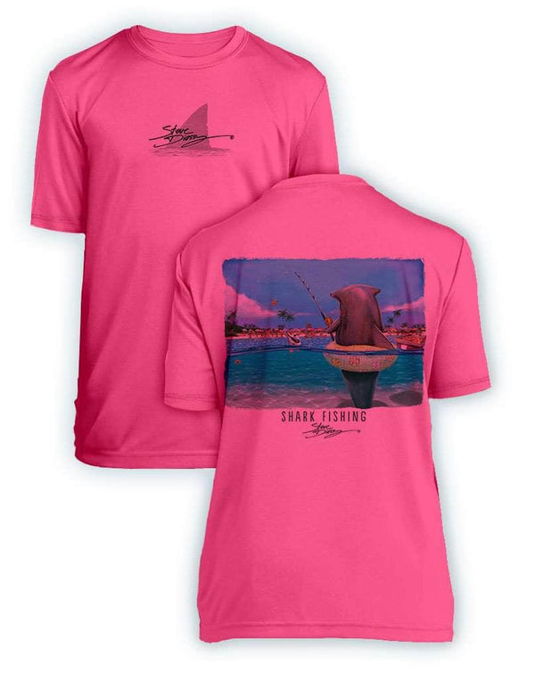 NEW! Shark Fishing- KIDS Short Sleeve Performance - 100% Polyester