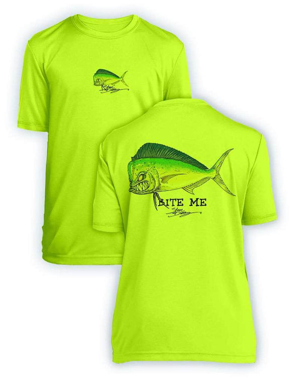 NEW! Bite Me Mahi- KIDS Short Sleeve Performance - 100% Polyester