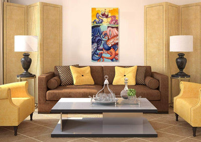 Mounted, Signed, Limited Edition, Giclee on Canvas of Afternoon Delight painting in living room