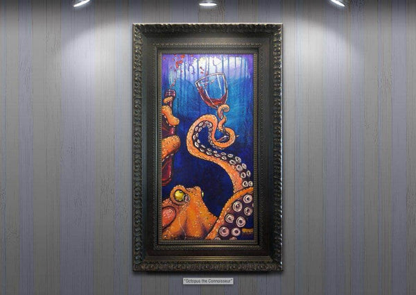 "Original Oil on Canvas ""Octopus the Connoisseur"" by Diossy"