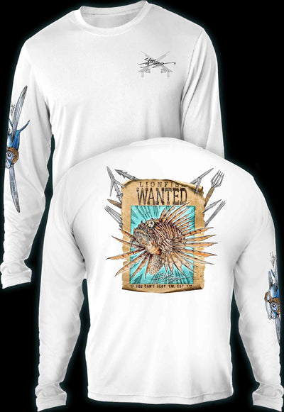 """Lionfish Wanted Poster""  Men's Extreme Wick Long Sleeve Performance Shirt ᴜᴘꜰ-ᴛᴇᴇ"