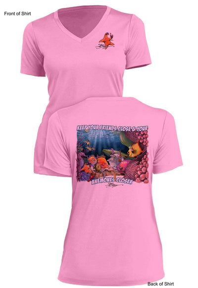 Anemones Closer- Ladies Short Sleeve V-Neck-100% Polyester