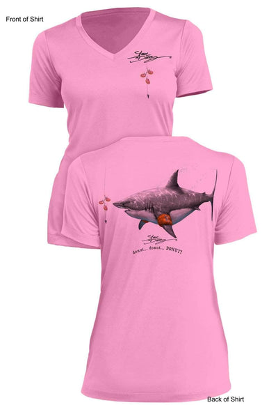 Donut Shark- Ladies Short Sleeve V-Neck-100% Polyester