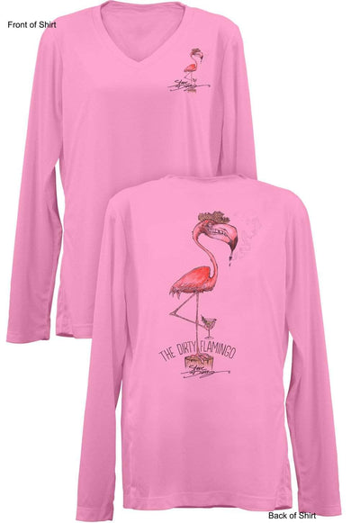 Dirty Flamingo- Ladies Long Sleeve V-Neck-100% Polyester