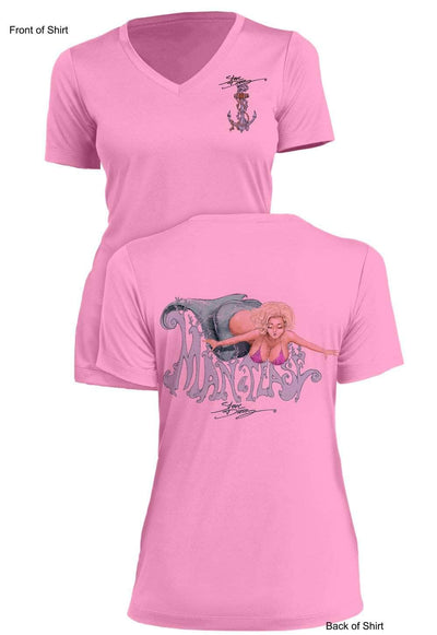 Man-A-Tease - Ladies Short Sleeve V-Neck-100% Polyester