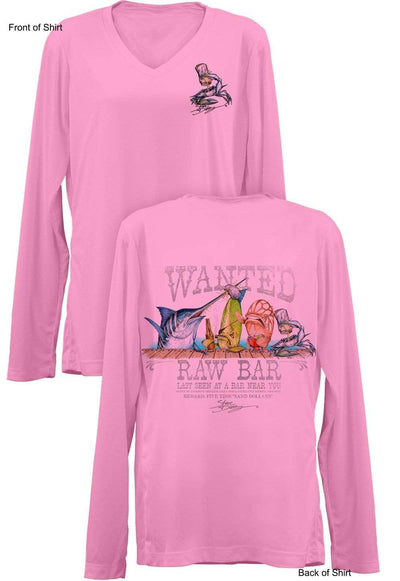 Raw Bar- Ladies Long Sleeve V-Neck-100% Polyester