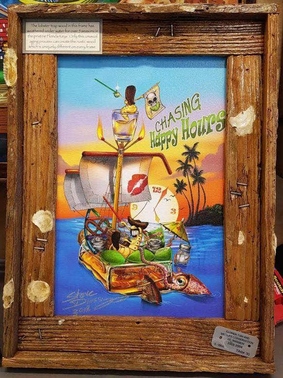 "NEW!! ""Chasing Happy Hours"" Authentic Lobster Trap Frame with Mini-Canvas Giclee"