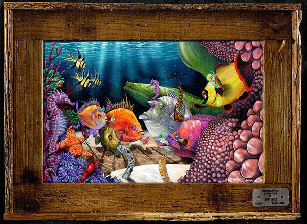 """Anemones Closer"" Authentic Lobster Trap Frame with Mini-Canvas Giclee"