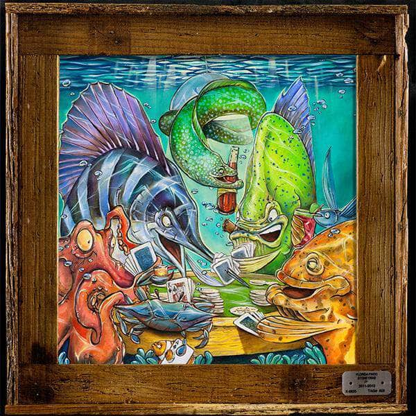 "NEW!! ""Fish N' Chips"" Authentic Lobster Trap Frame with Mini-Canvas Giclee"