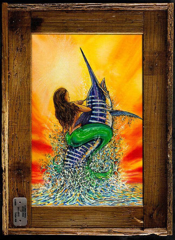 """Live Bait"" Authentic Lobster Trap Frame with Mini-Canvas Giclee"