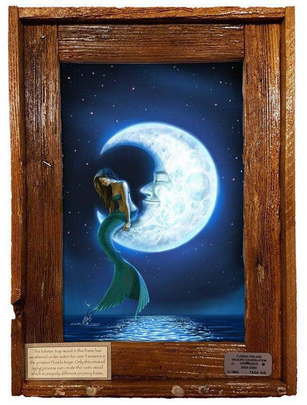 "NEW ""Mermaid in the Moon"" Authentic Lobster Trap Frame with Mini-Canvas Giclee"