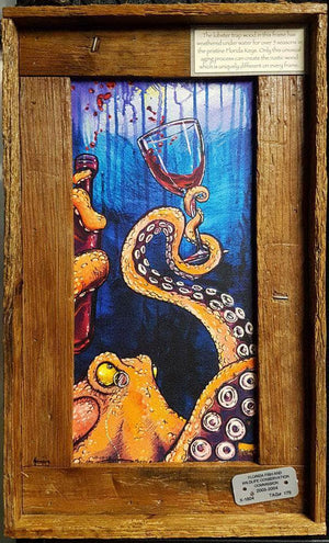 """Octopus the Connoisseur"" Authentic Lobster Trap Frame with Mini-Canvas Giclee"