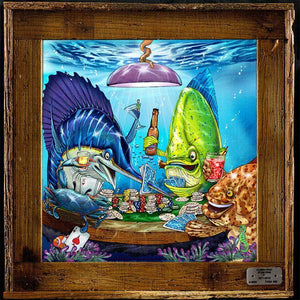 """Poker Fish"" Authentic Lobster Trap Frame with Mini-Canvas Giclee"