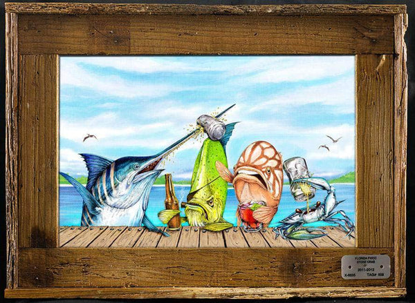 """Raw Bar"" Authentic Lobster Trap Frame with Mini-Canvas Giclee"