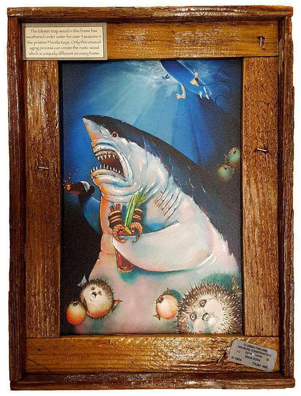 """Shark Father"" Authentic Lobster Trap Frame with Mini-Canvas Giclee"