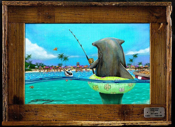 """Shark Fishing"" Authentic Lobster Trap Frame with Mini-Canvas Giclee"