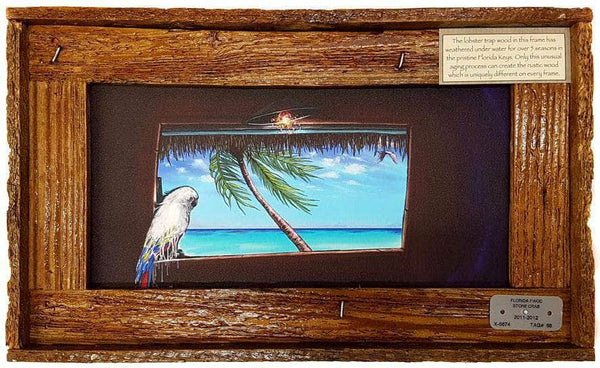 """True Colors"" Authentic Lobster Trap Frame with Mini-Canvas Giclee"