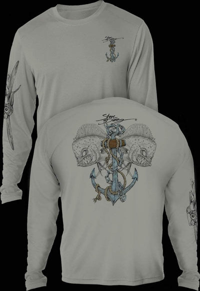 """Mahi Anchor""  Men's Extreme Wick Long Sleeve Performance Shirt ᴜᴘꜰ-ᴛᴇᴇ"