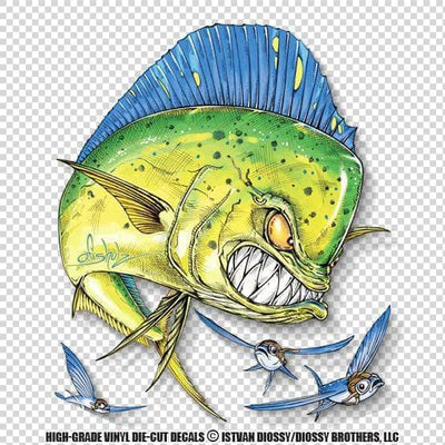 Mad-Mahi and flying fish (Die-Cut Decal)