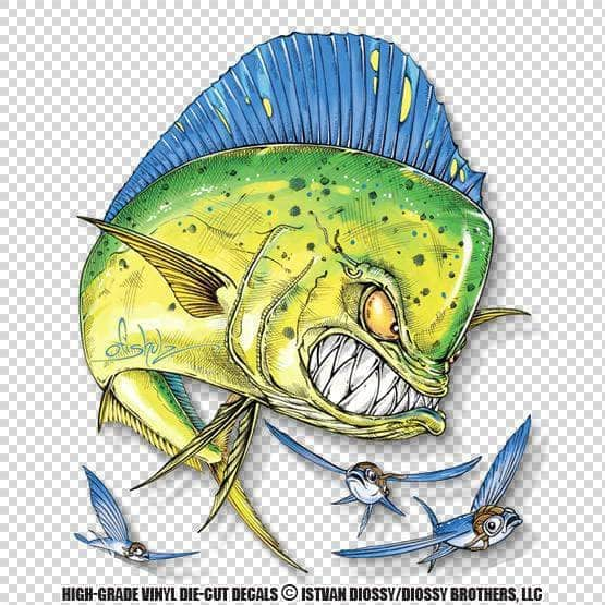 Mad mahi and flying fish die cut decal