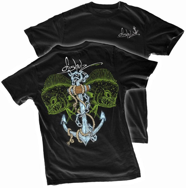 Mahi-Mahi Anchor (on black shirt) 100% combed ringspun cotton (2XL ONLY)