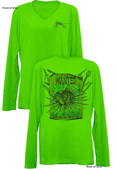 Lionfish Wanted-Poster- Ladies Long Sleeve V-Neck-100% Polyester