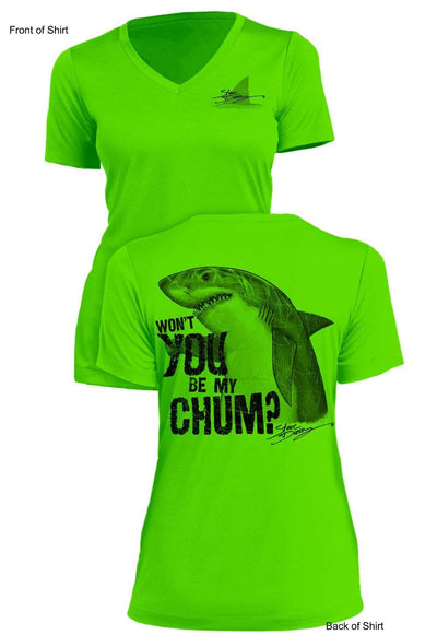 Shark Chum- Ladies Short Sleeve V-Neck-100% Polyester