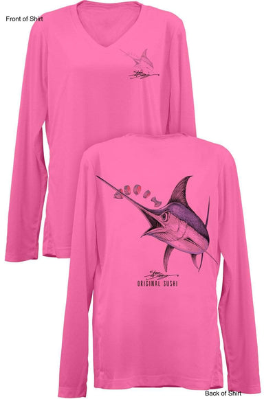 Original Sushi- Ladies Long Sleeve V-Neck-100% Polyester