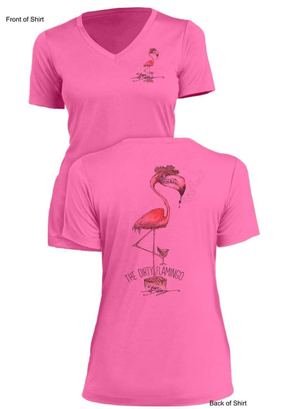 Dirty Flamingo- Ladies Short Sleeve V-Neck-100% Polyester
