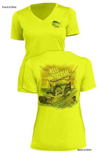 Reel Reversal- Ladies Short Sleeve V-Neck-100% Polyester