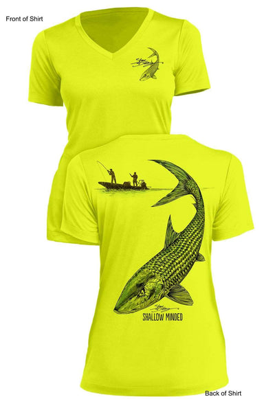 Shallow Minded- Bonefish - Ladies Short Sleeve V-Neck-100% Polyester
