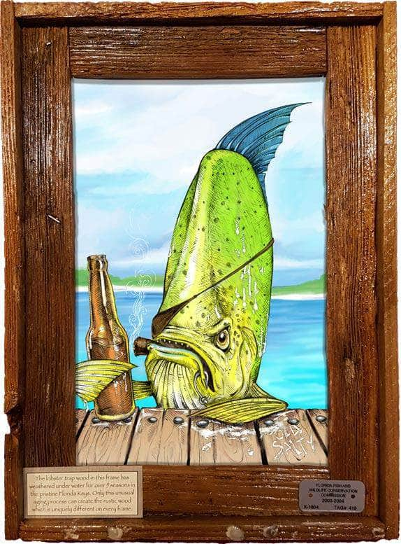 "NEW!! ""Old Salty"" Authentic Lobster Trap Frame with Mini-Canvas Giclee"