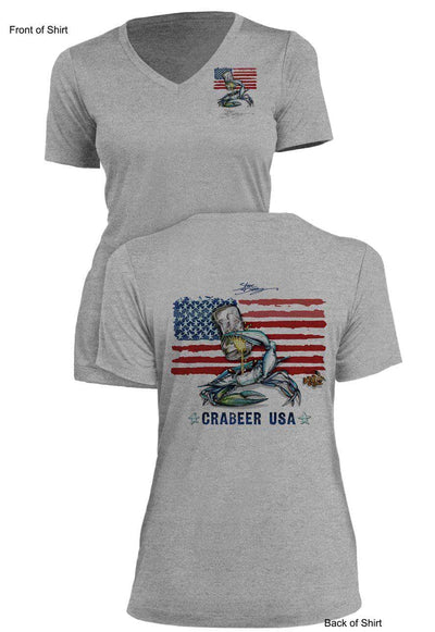 NEW! Crabeer USA- Ladies Short Sleeve V-Neck-100% Polyester
