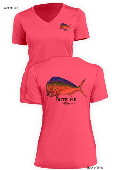 Bite Me Mahi - Ladies Short Sleeve V-Neck-100% Polyester