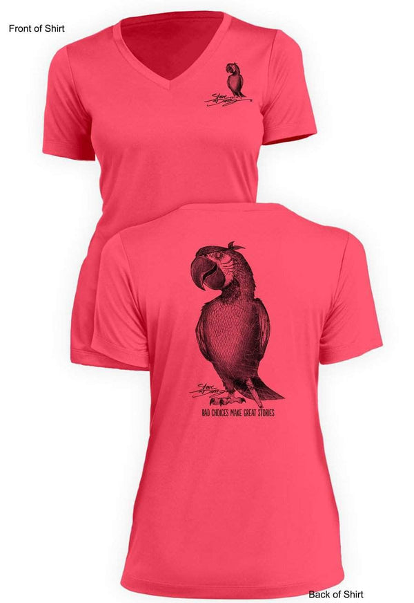 NEW! Pirate Parrot- Ladies Short Sleeve V-Neck-100% Polyester