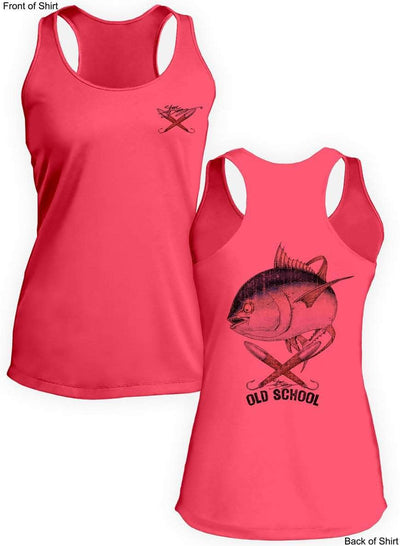 Old School Tuna- Ladies Racerback Tank-100% Polyester