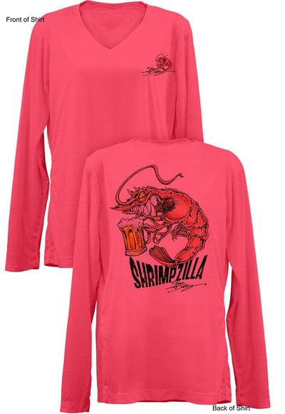 Shrimpzilla- Ladies Long Sleeve V-Neck-100% Polyester