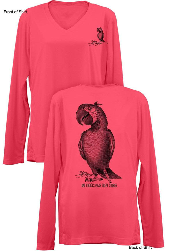 NEW! Pirate Parrot- Ladies Long Sleeve V-Neck-100% Polyester