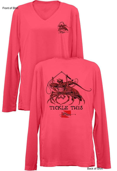 Tickle This Lobster- Ladies Long Sleeve V-Neck-100% Polyester