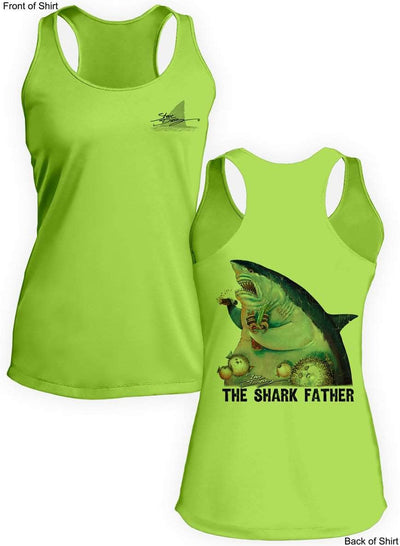 The Shark Father- Ladies Racerback Tank-100% Polyester