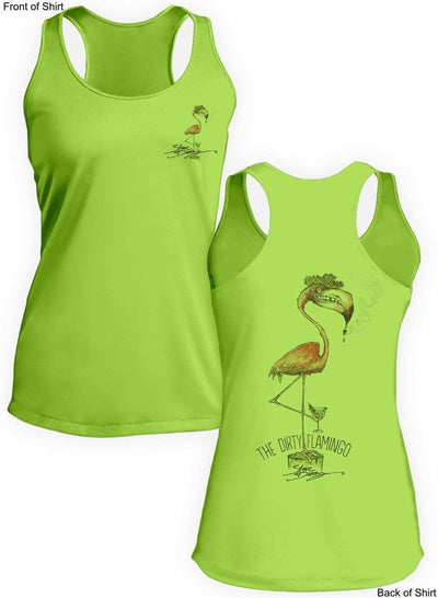 Dirty Flamingo- Ladies Racerback Tank-100% Polyester
