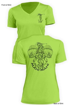 Mahi Anchor B&W- Ladies Short Sleeve V-Neck-100% Polyester